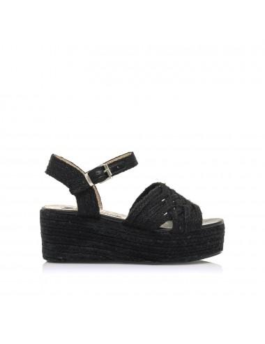 Sandalo donna nero con zeppa