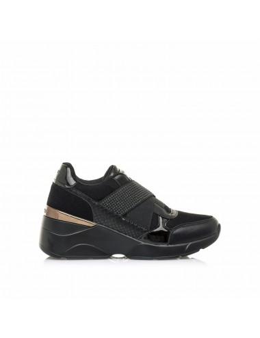 Sneakers donna nere con zeppa